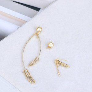 HenriBendel Three-Piece Earrings With Zircon Wheat
